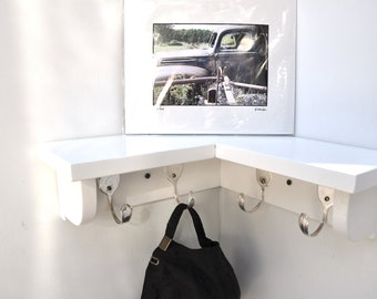 4 Spoon Hooks Coat Rack with Corner Shelf in any color finish Recycled Silverware