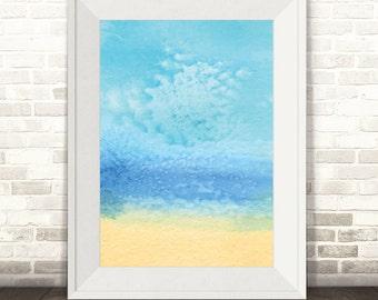 Beach Print, Beach Watercolour Print, Beach Art, Watercolor Print, Sea and Sand Print, Beach Poster