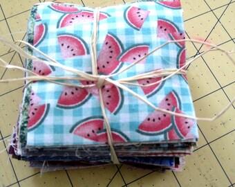 100 3-inch fabric squares - All Cotton Quilt Charm Squares / Remnant Bundle - Quilting Scraps/Pieces - cotton quilt fabric blocks