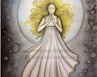 Moon Goddess Greeting Card, Blank Note Card, Featuring Original Art Repro Printed on Eco Friendly Recycled Paper, On Sale
