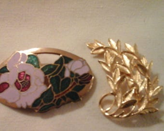 Rose & Falling Leaves Brooches