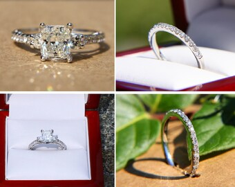Certified - 2.25 carats - Radiant cut Diamond Engagement ring and wedding band SET  - 14k White gold Bp018