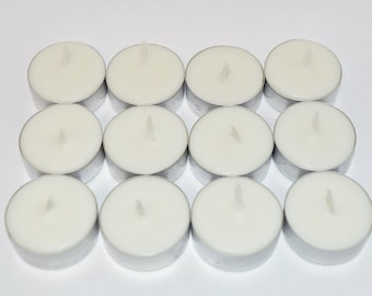 Mahogany & Teakwood   Scented Tea Light Candles 12 Pack Made With Soy Dye Free