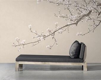 Plum Blossom Tapete Orientalischen Vintage Blume Rebe Wand Wandbild  Chinesische Natur Aquarell Tusche Und Waschen,
