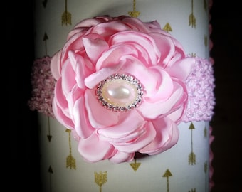 This Pink Vintage 3 Inch Flowered Headband Has Swarovski Crystals... Perfect For Babies & Toddlers, Easter Celebrations and Birthday Parties