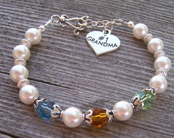 Grandma  Birthstone Bracelet Sterling Silver and Swarovski Crystal