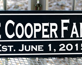 Custom family name wood sign with established date