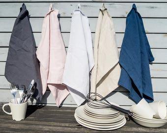 Linen Kitchen Towels set, softened linen tea towel, stonewashed linen kitchen textiles, different colors