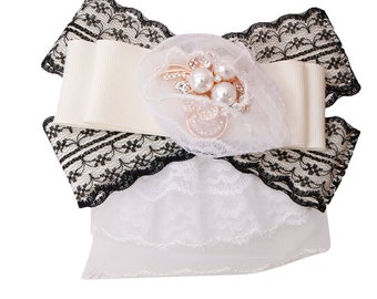 Designer inspired lace bow tie brooch