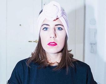 Headband/headband pink wool turban/Maxmara-handmade