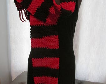 Front Row Fan Scarf; Extra Long scarf; Team Spirit Scarf; Crocheted long Scarf