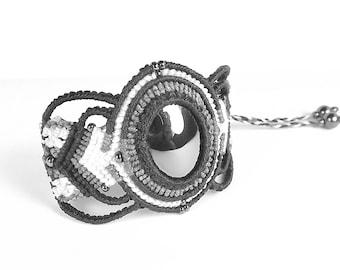 Macrame Bracelet, Boho Bracelet, Hemalyke in Black, Gray, And White