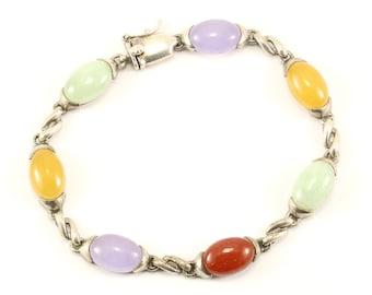Vintage Beautiful Multi Color Quartz Crystal Design Link Bracelet 925 Sterling BR 3093