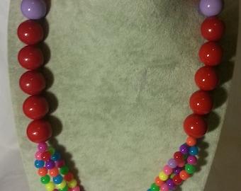 Acrylic Bead Necklace,Multi Strand Necklace,Birthday Gift,Necklace,Handmade Necklace,Fashion Jewelry,Gift Necklace,Valentine's Gift,Handmade