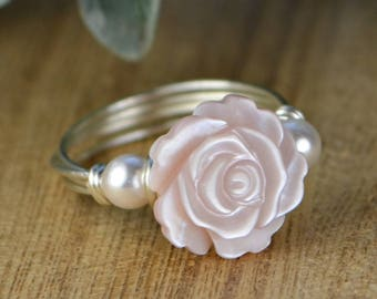 Pink Mother of Pearl Flower and Any Two Birthstones Ring-Sterling Silver, Yellow or Rose Gold Filled Wire- Size 4 5 6 7 8 9 10 11 12 13 14
