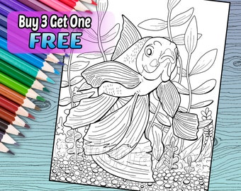 Goldfish - Adult Coloring Book Page - Printable Instant Download