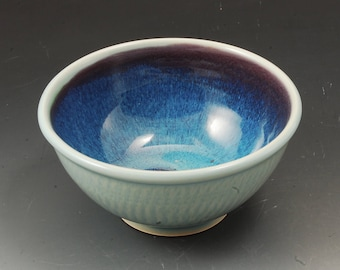 Handmade Pottery Bowl Plum and Celadon Green Stoneware by Mark Hudak