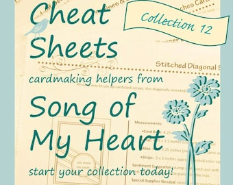 Cheat Sheets #12 Collection: Instant Digital Download cardmaking tutorials, sketches, rubber stamping, complete instructions & measurements