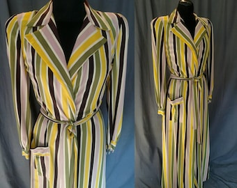 Vintage 1940s Multi-color Stripped Robe - Bloomingdales Mauve, Yellow, Green -40s Women's Dressing Robe Size Medium
