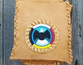 Beaded belt bag ,   Soft leather belt bag ,   Beaded eagle hip bag ,  Four directions beadwork , hip bag