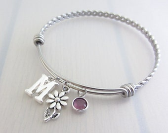 Daisy Flower Charm Stainless Steel Bangle, Birthstone Initial Bangle, Personalised Silver Letter Bracelet, Adjustable Bangle, Nature Gift