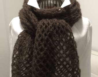Scarf, shawl, woman, Brown, mohair and silk