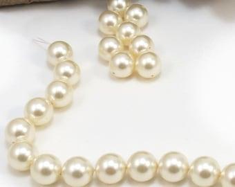 Pearls, Swarovski Pearls, Ten (10) Cream Swarovski Crystal Beads, 10mm Round Cream Crystal Pearls, Item 215p