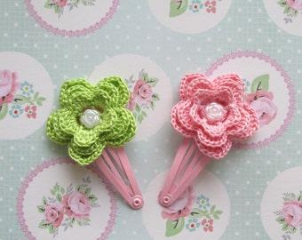 Pink Flower Hair Clip Pattern - Baby Girl Hair Accessories - Crochet Flower Pattern -Instant Download PDF File