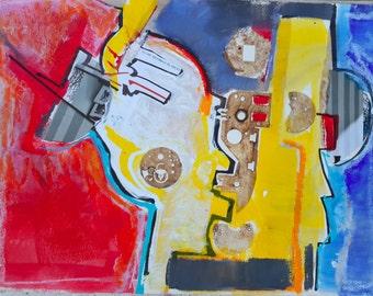 Modern Art Abstract Painting, Abstract Art on Paper, Abstract Art Original Painting, Living Room Art, Mixed Media Collage Art, Fine Art