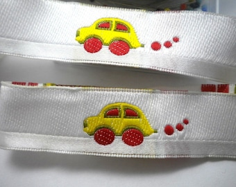 Colorful, Joyful Jacquard Ribbon with lovely car  on white  background 5meters