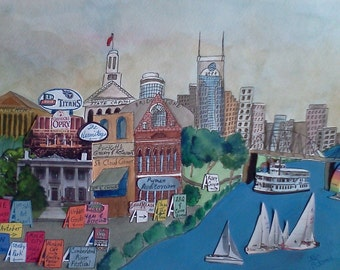NASHVILLE MEMORIES Painting Watercolor Titans Music City Walk of Fame Tennessee Print Cornbread South Cumberland River Festival