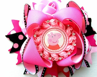 Peppa pig inspired bow