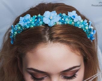 Beaded blue dolce headband Blue flowers crystal crown Baroque headband woman Bridal tiara Beach wedding crown Blue wedding jeweled headband