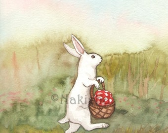Original Watercolor Rabbit Painting - Little White Rabbit  going on a Picnic