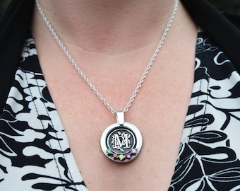 Silver Mother's Pride Monogram Necklace - Mom or Grandmother's Necklace with Children's Birthstones - Monogram necklace - Gift for mom,