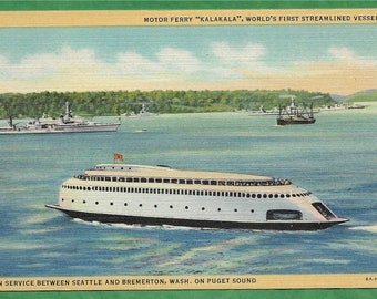 Vintage Linen Postcard - The Motor Ferry Kalakala World's First Streamlined Vessel in Service on Puget Sound (3452)