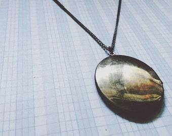 long locket necklace   large locket   shiny brass oval - vintage locket