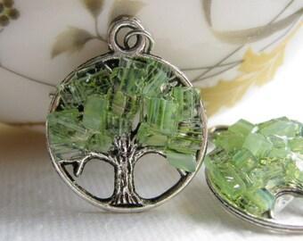 Raw Peridot Tree Earrings, August Birthstone, Tree Of Life, Green Silver Tree, Best Seller