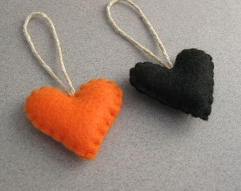Gruselige Halloween Herz Ornamente Orange und schwarz Set von 2 Recycling Filz 2er set