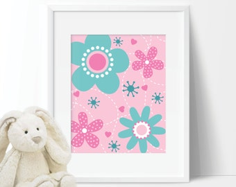 Baby Girl Nursery Art Print - Girl Nursery Decor - Flower Nursery Art - Flower Bedroom Art - Girl Bedroom Art - Pink Teal  (S-315)