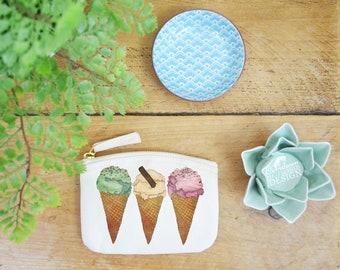 Ice Cream Coin Purse, Change Purse, Coin Pouch, Zip Pouch, Canvas Purse, Organic Purse, Small Zipper Pouch,  Ice Cream Gift