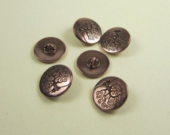 6 Tierracast Antique Copper Tree of Life Buttons