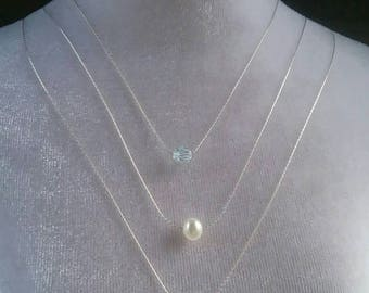 3 Strand Necklace Set with Swarovski Crystals Fresh Water Pearl and Sterling Silver