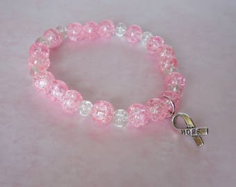 Beaded Glass Stretch Bracelet with Breast Cancer Awareness Hope Charm