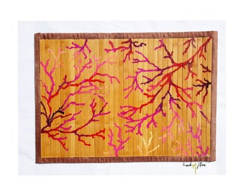 Hand Painted Bamboo bath mat, handmade, hand painted, resistant