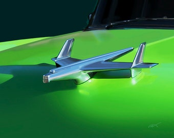 1955 Chevy Hood Ornament...gallery wrapped stretched canvas or luster photo paper print, car art, 55 ,classic car, automobile, rocket