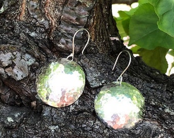 Domed disc drop earrings - Large