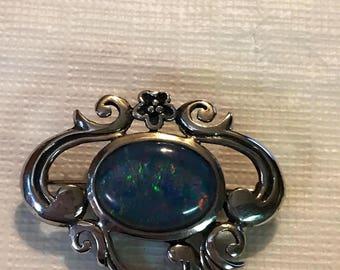 Vintage Sterling Silver Art Deco Opal Brooch