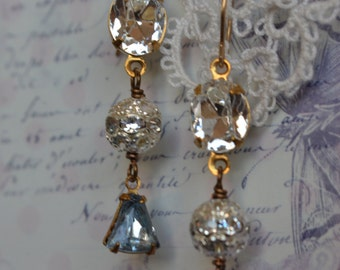 Ice blue vintage glass drops Bridal Wedding Special Occasion