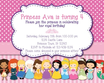 All Princess Birthday Invitation